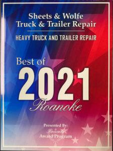 Roanoker Magazine - Best of 2021 - Heavy Truck & Trailer Repair